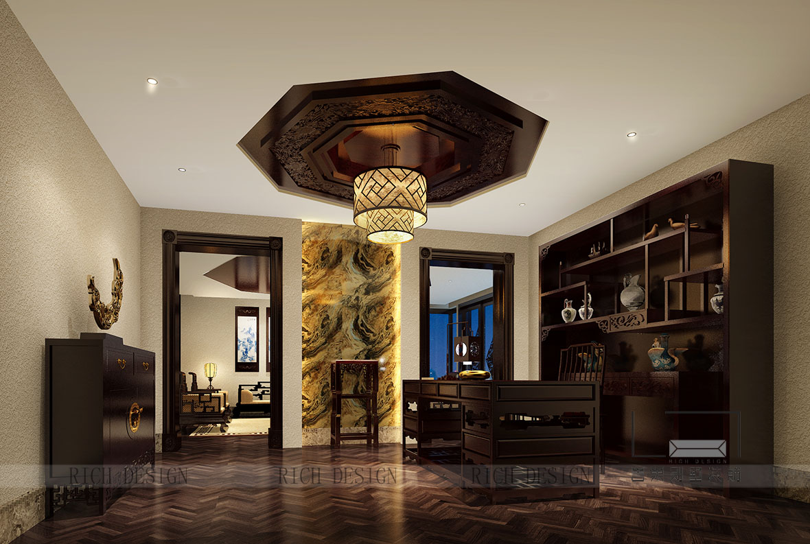 犹如在山水之间直接而干练的线条,自由放松的尺度,是对应空间最贴切的诠释。茶白的清雅自然、赭石的稳重硬朗、靛蓝的深邃蜿蜒,犹如在山水之间,意境之中。  绚丽多彩的中式别墅装修设计氛围别墅餐厅吊灯的形式、材质与空间背景相呼应,铅白色的桃花在玄青花器上显得分外典雅,秋色的漆画在昭示着相近文化背后的绚丽山景。
