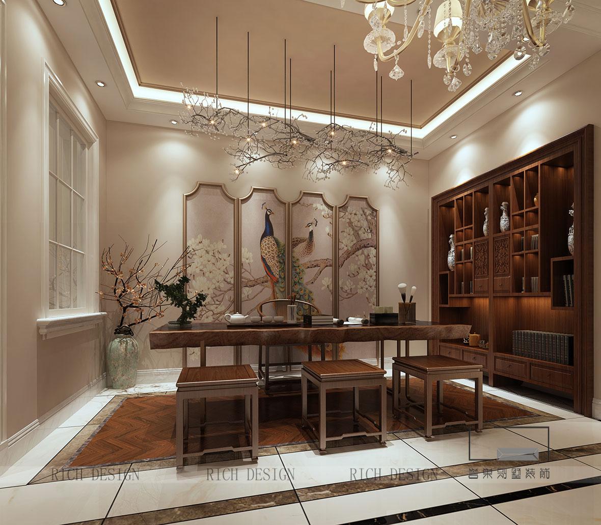 别墅负一楼茶室装修设计效果图