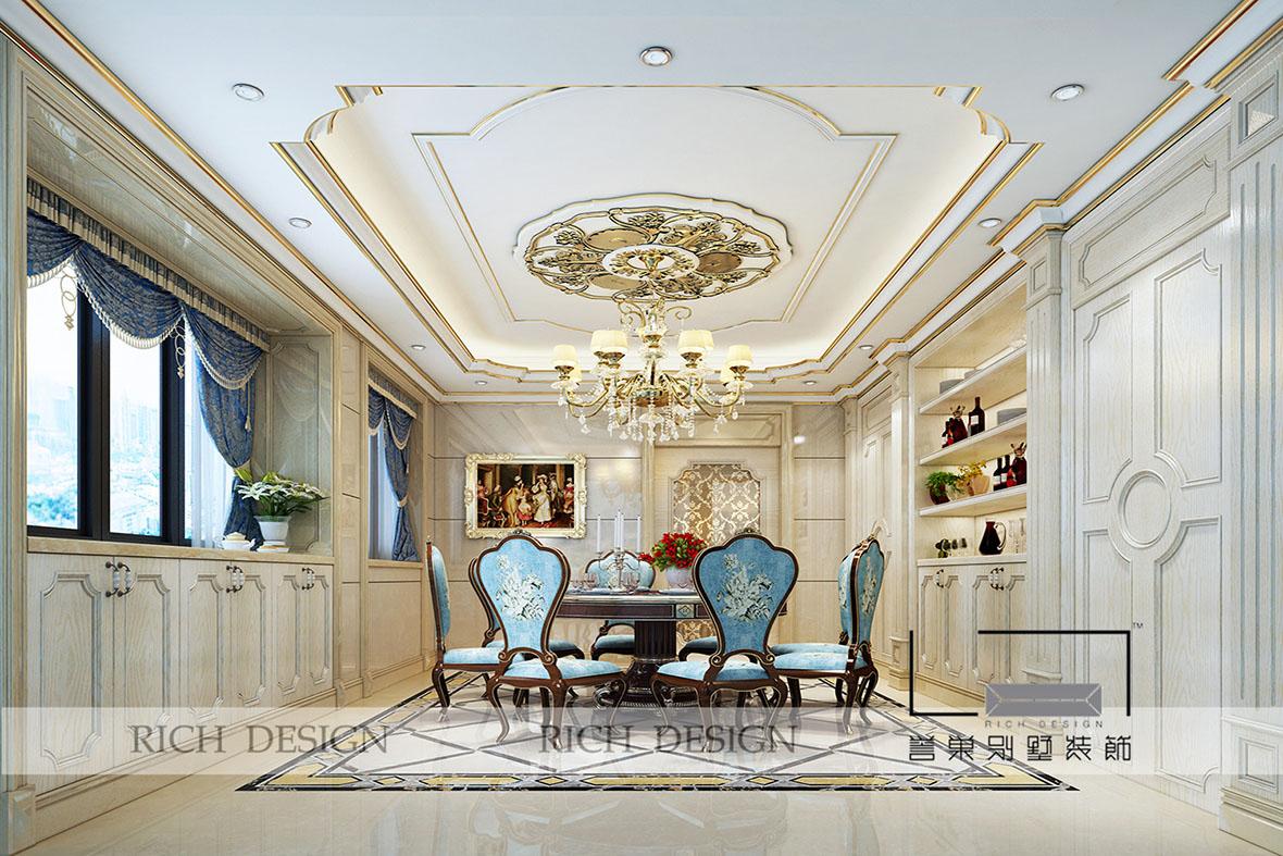 餐厅面积一般都比客厅小,可考虑在餐厅做吊顶造型装饰,随着人们对图片