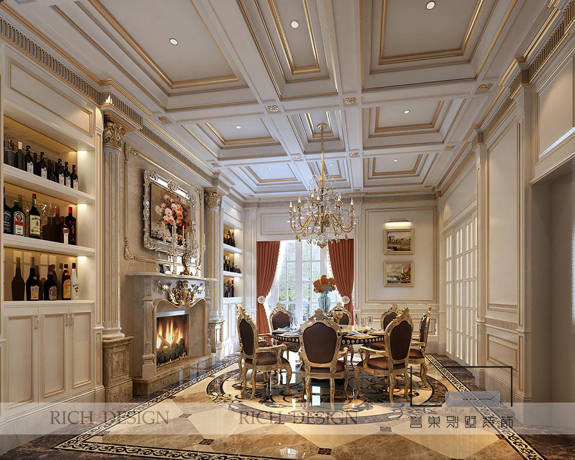 餐厅面积一般都比客厅小,可考虑在餐厅做吊顶造型装饰,随着人们对