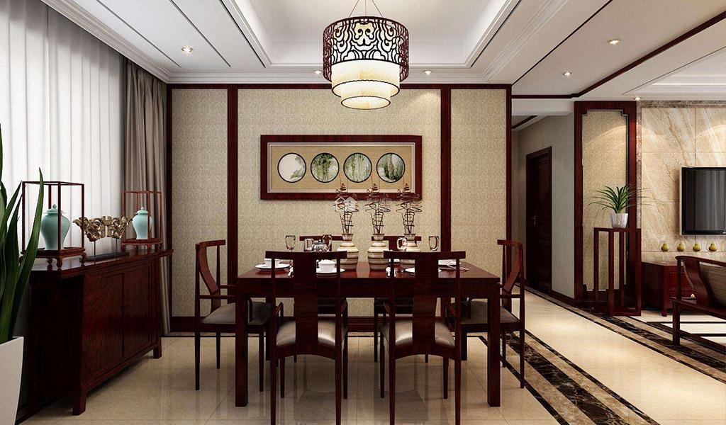 别墅中式餐厅空间的特色主题是传统中国风,首先对古典元素进行简单