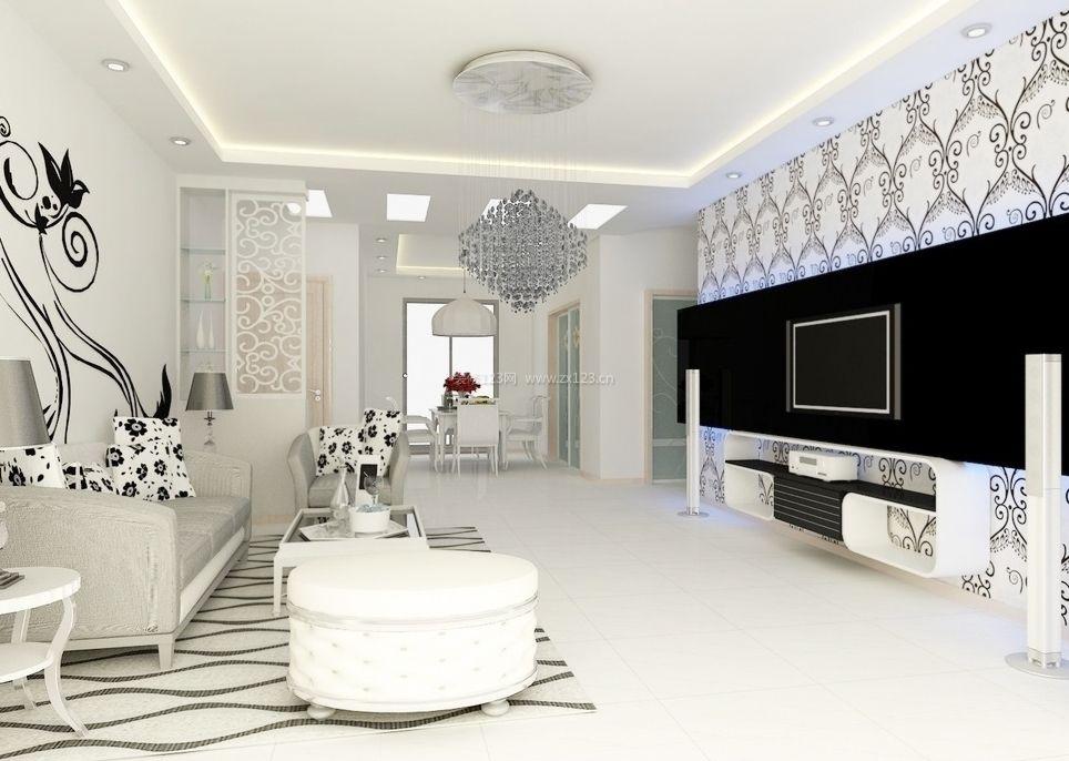 现代简约风格别墅装修客厅效果图