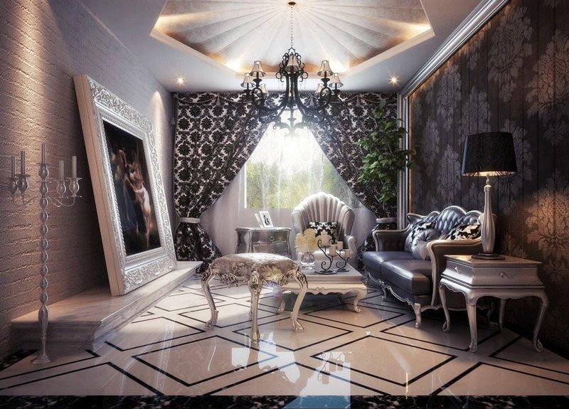 古典风格别墅装修之客厅效果图