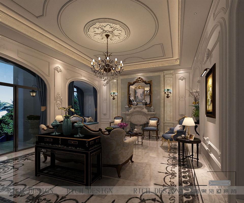 别墅欧式客厅装修设计效果图