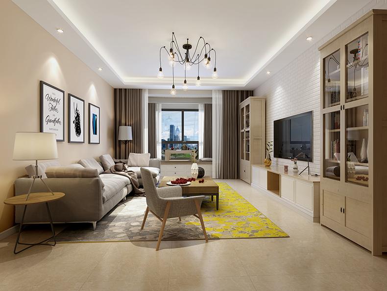 别墅现代客厅装潢设计效果图 别墅客厅在白色基调下,以拥有优美曲线的家具搭配粉藕色丝绸窗帘,营造出甜美浪漫的空间风格。客厅装潢设计呈现新现代简约时,少不了用白色系来做映衬,格局带点优雅,重新演绎新现代的清新质感。
