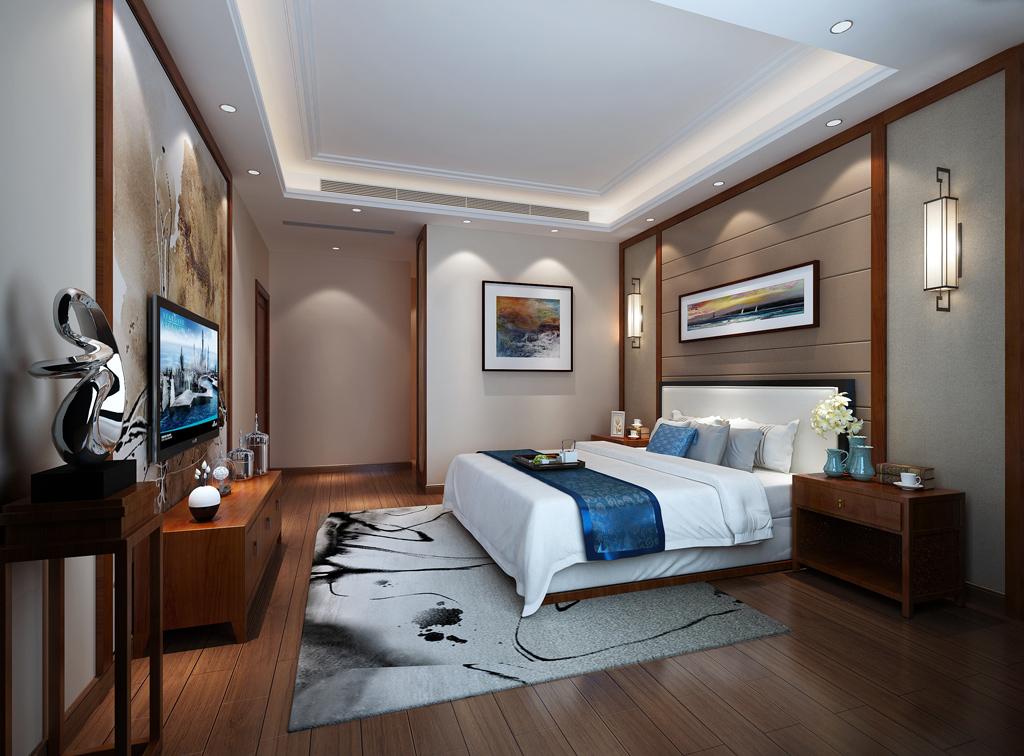 别墅中式卧室装修实景图