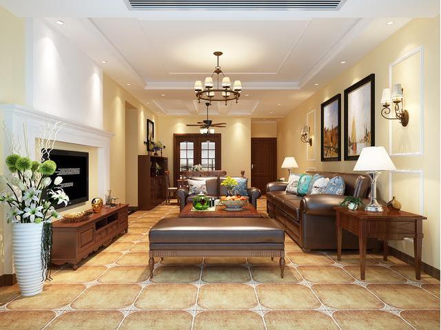 简美通常使用大量的石材和木制面装饰,美国人喜欢有历史感的东西,总体而言,客厅是宽敞而富有历史气息的。在材料选择上多倾向于较硬、光斑、华丽的材质。简美风格是美式古典风格的延续,简美风格特色是将设计的元素、色彩、照明、原材料等简化到最少的程度,但是对材料的色彩质感要求很高。简美风格整体给人一种简约大气的气息,没有过多复杂的空间布局,每处都格外的干净利落,而且现代实用,无论是房顶的吊顶,还是脚下的地板,都没有琐碎多余的设计,表面光滑柔和,让人感觉温暖而舒适。一般以暖色为主,充满美式元素的客厅吊顶让空间显得更加华