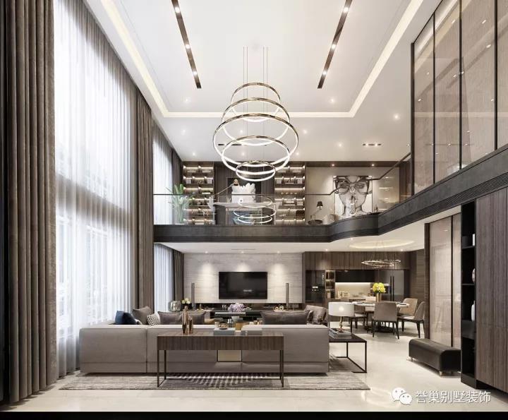 别墅现代客厅装饰设计效果图