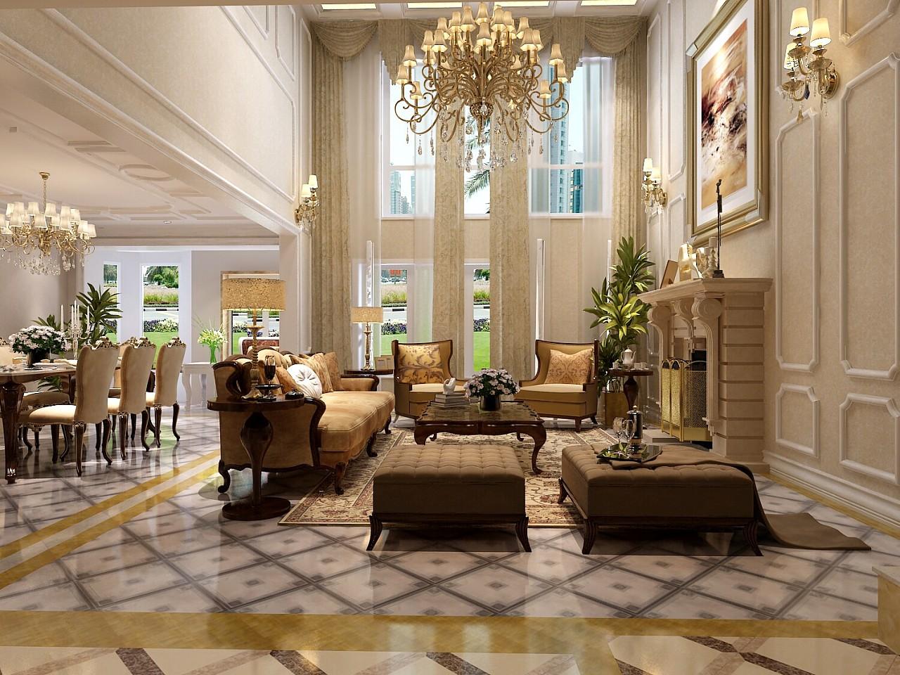 别墅装饰现代客厅效果图