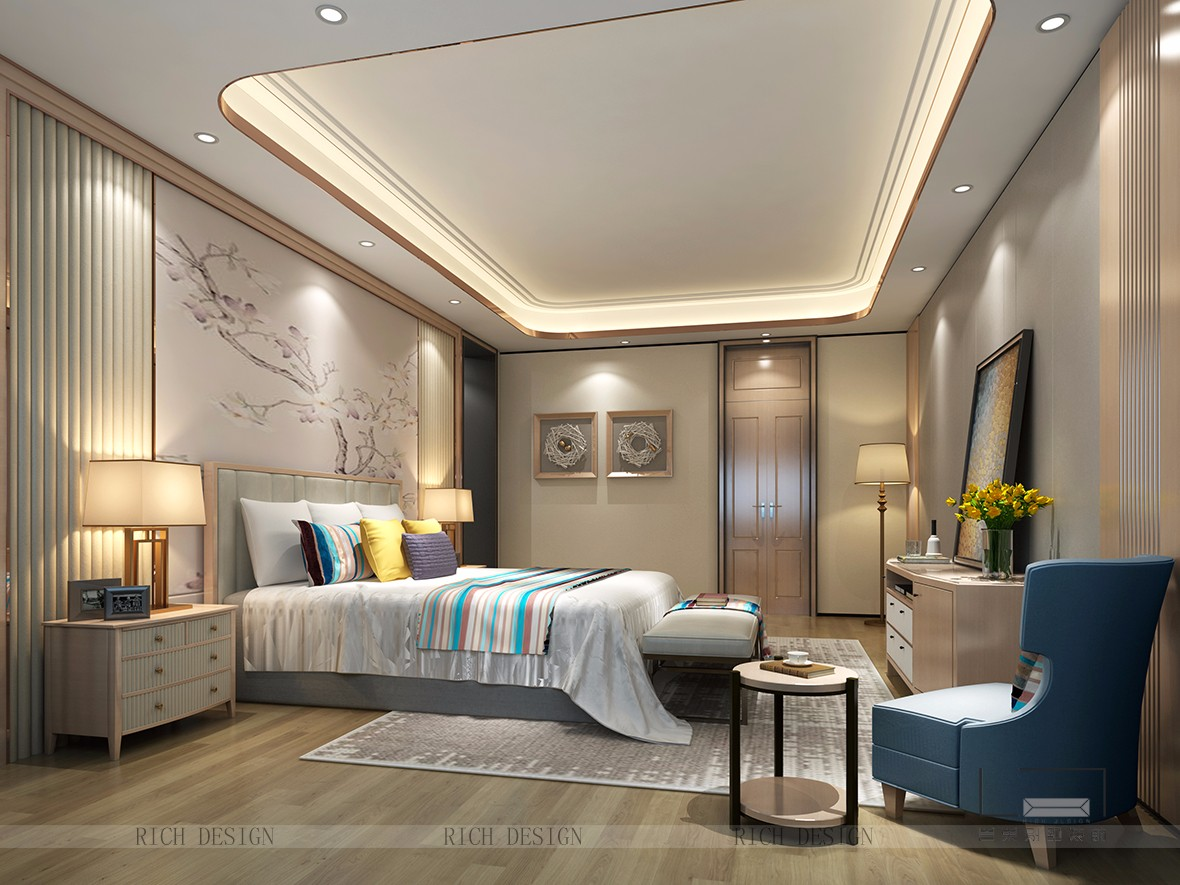 别墅简约现代卧室装潢为空间增添了一丝贵气,这一点尤其体现为