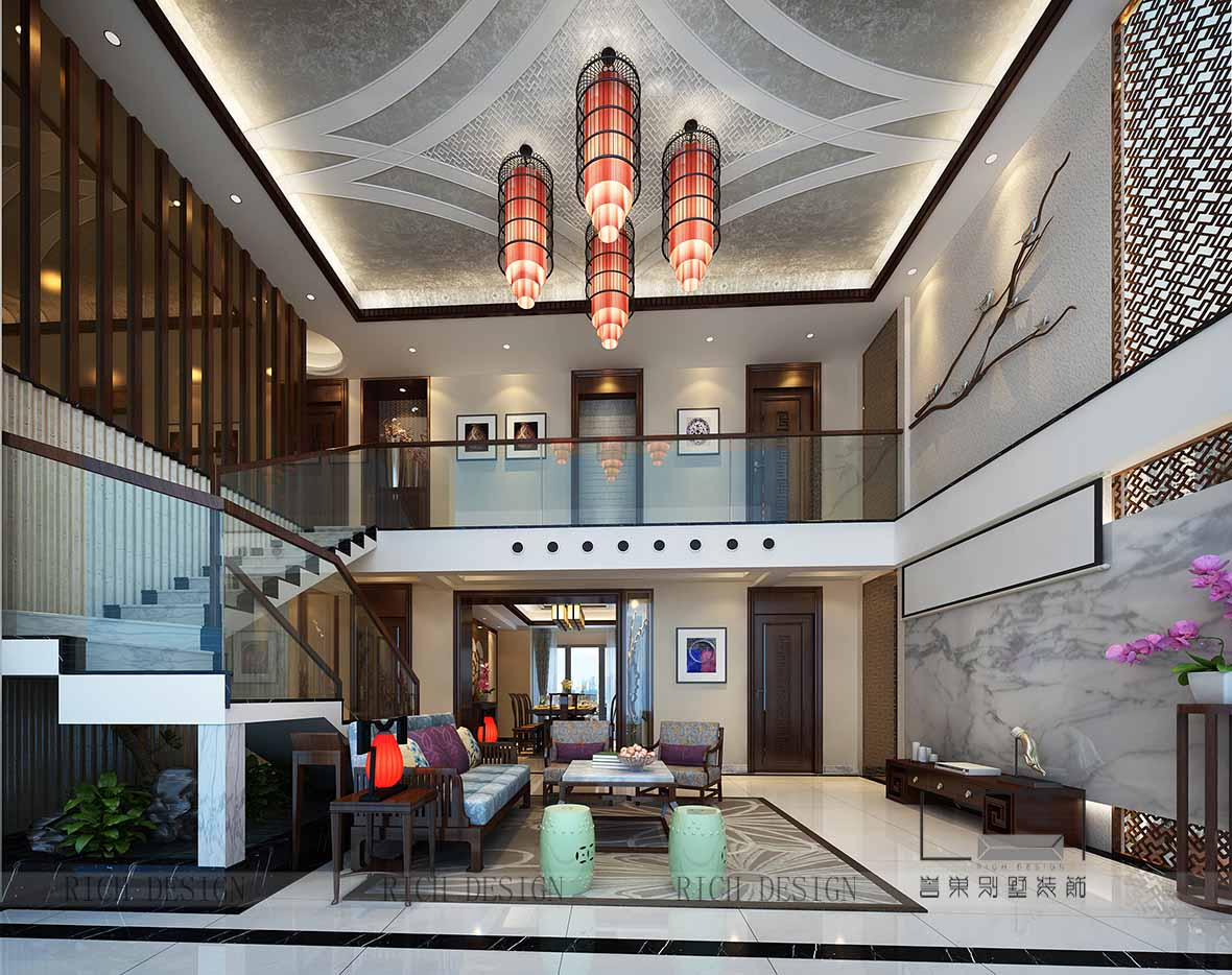 深圳别墅中式客厅装潢效果图