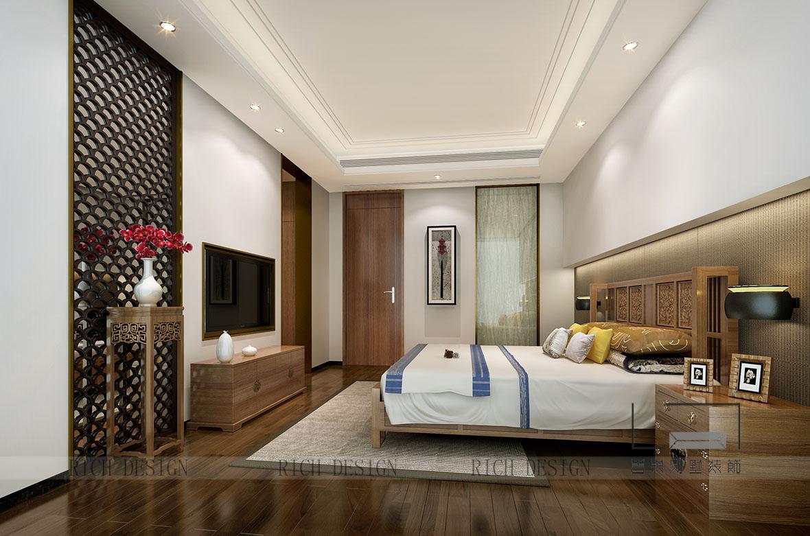 中式别墅卧室装饰效果图