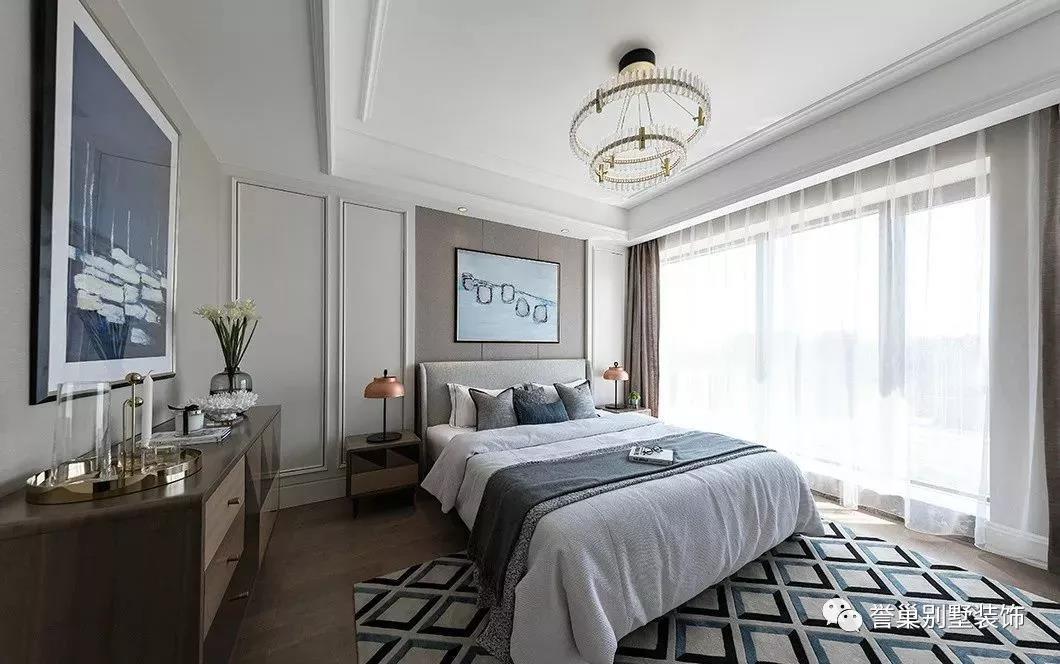 别墅装修墙面卧室效果图