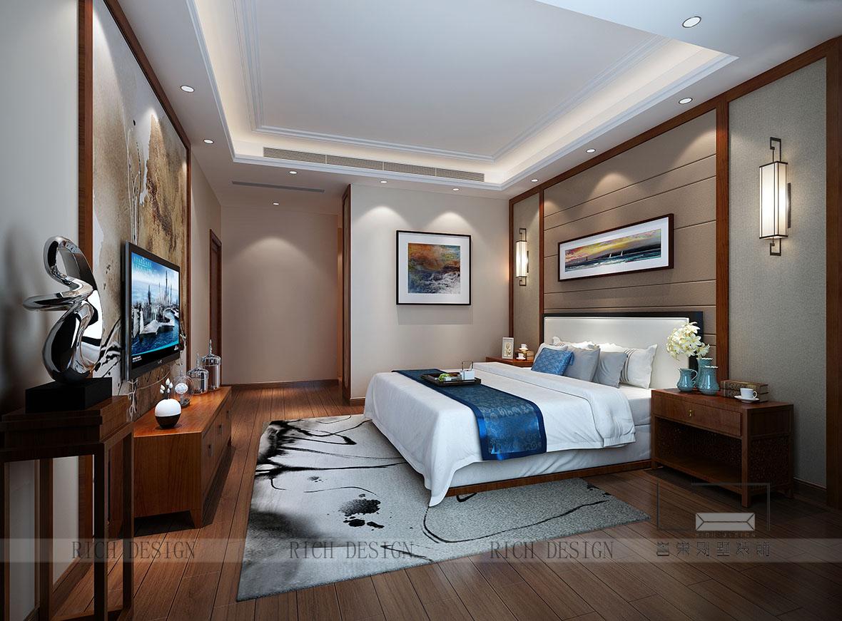 中式别墅卧室装修设计效果图