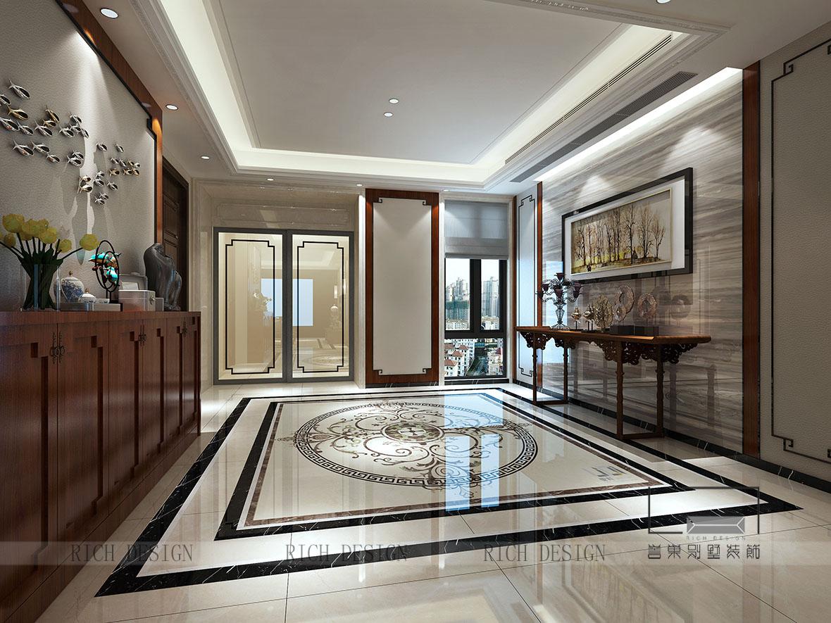 中式别墅入户玄关装修设计效果图