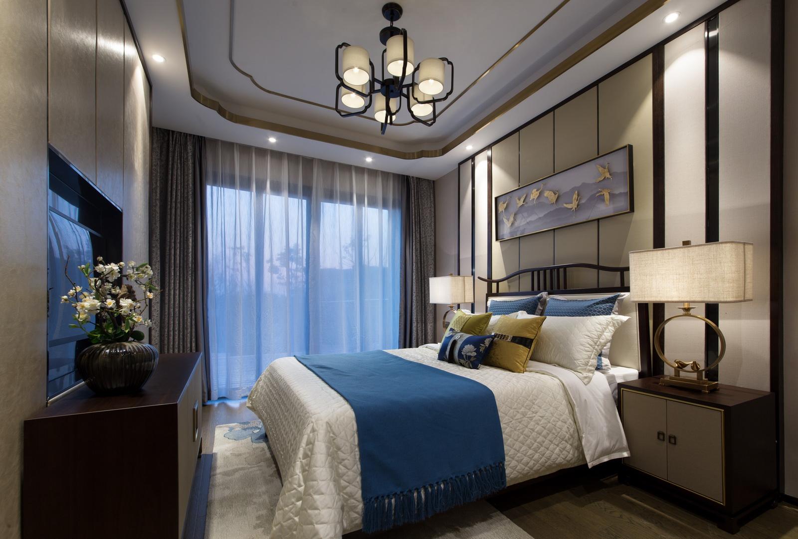 别墅中式卧室装修效果图