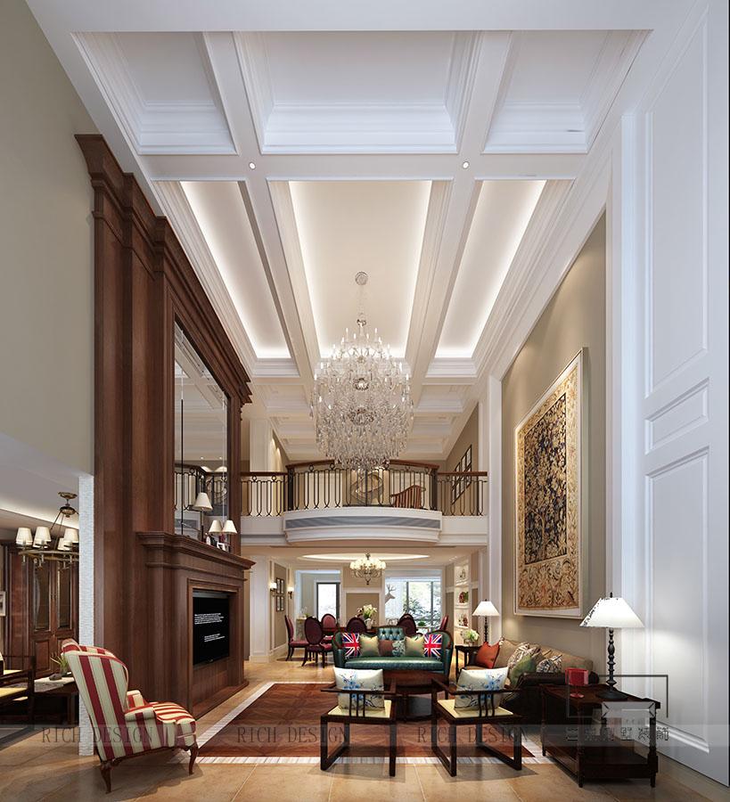 別墅美式客廳裝修效果圖