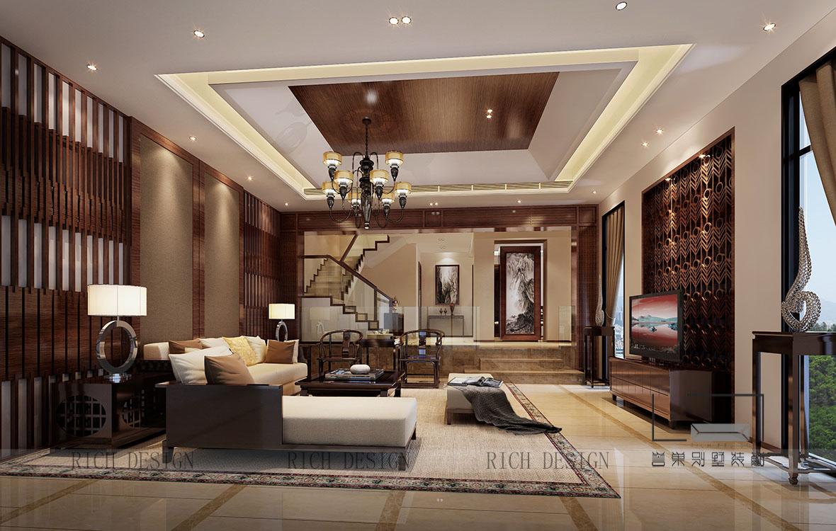 別墅中式客廳裝修效果圖