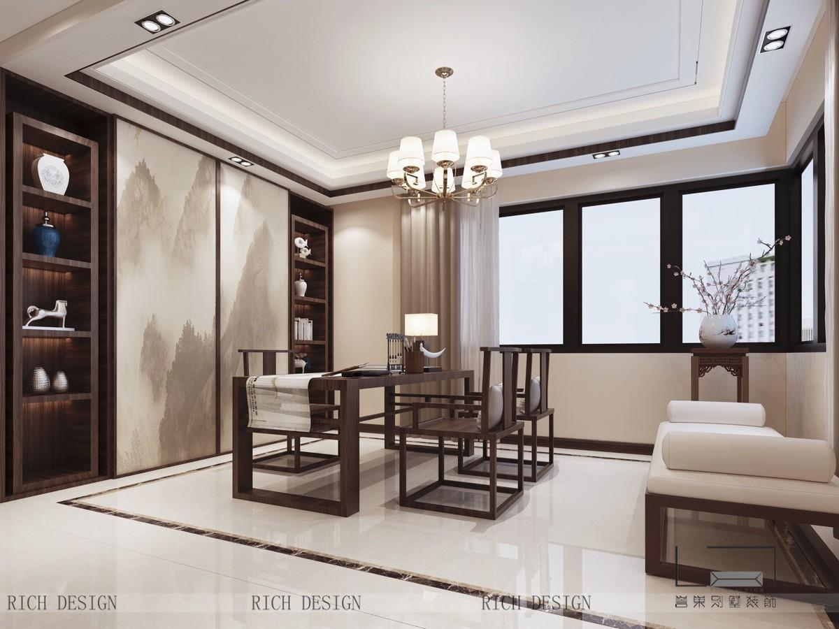 新中式别墅书房效果图