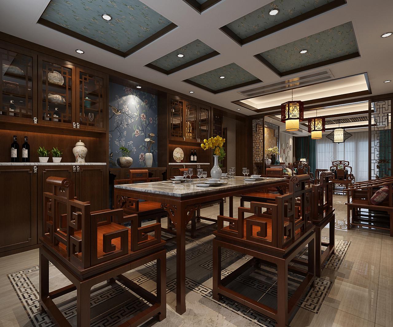 中式别墅装修设计讲究整体布局与高端格调,造型豪华温暖,色彩浓郁又沉稳,精致的空间回归自然、朴实和谐,以现代装饰设计的色彩配于中式元素相互交际融合,缔造清幽雅致,气势恢宏的豪宅生活。  中式别墅玄关装修设计效果图